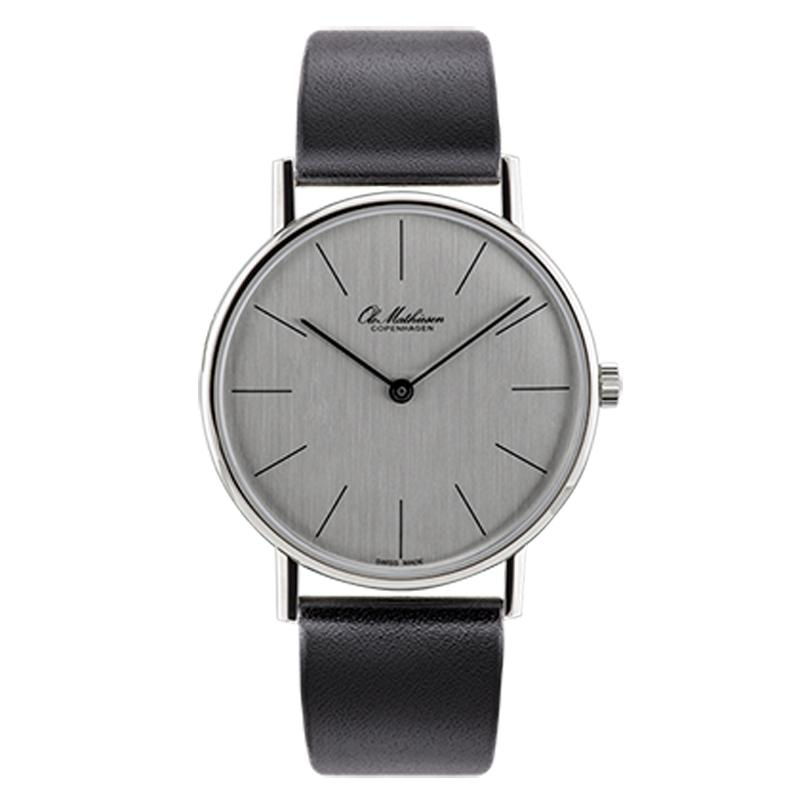 Ole Mathiesen Classic Ø35 mm armbåndsur, sølvfarvet skive