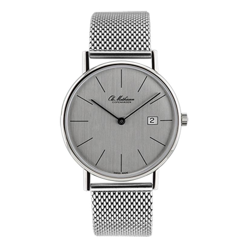 Ole Mathiesen Classic Ø35 mm armbåndsur med lænke, sølvfarvet skive med dato