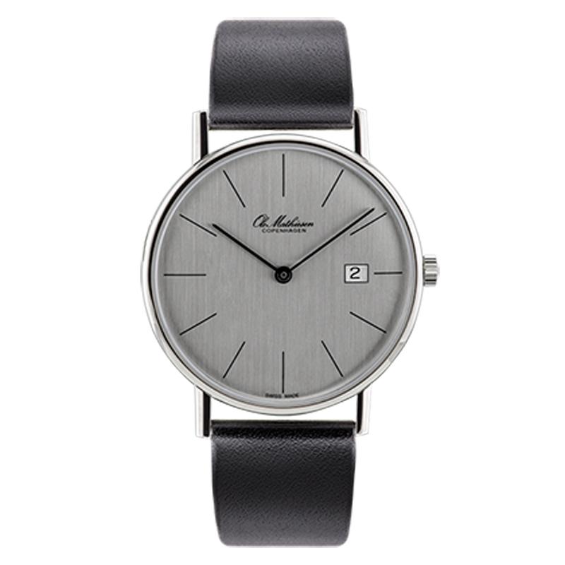 Ole Mathiesen Classic Ø35 mm armbåndsur, sølvfarvet skive med dato