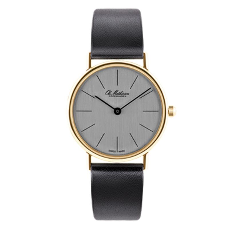Ole Mathiesen Classic Ø28 mm 18 kt. guldbelagt armbåndsur, sølvfarvet skive med sort rem