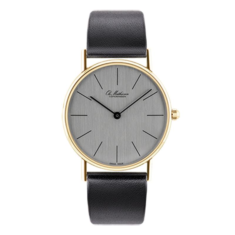 Ole Mathiesen Classic Ø33 mm 18 kt. guldbelagt armbåndsur, sølvfarvet skive med sort rem