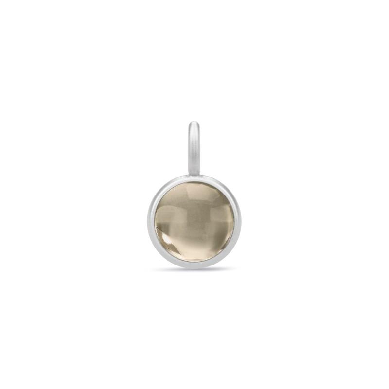 Julie Sandlau Primini vedhæng sølv med røgfarvet krystal, Ø 9 mm