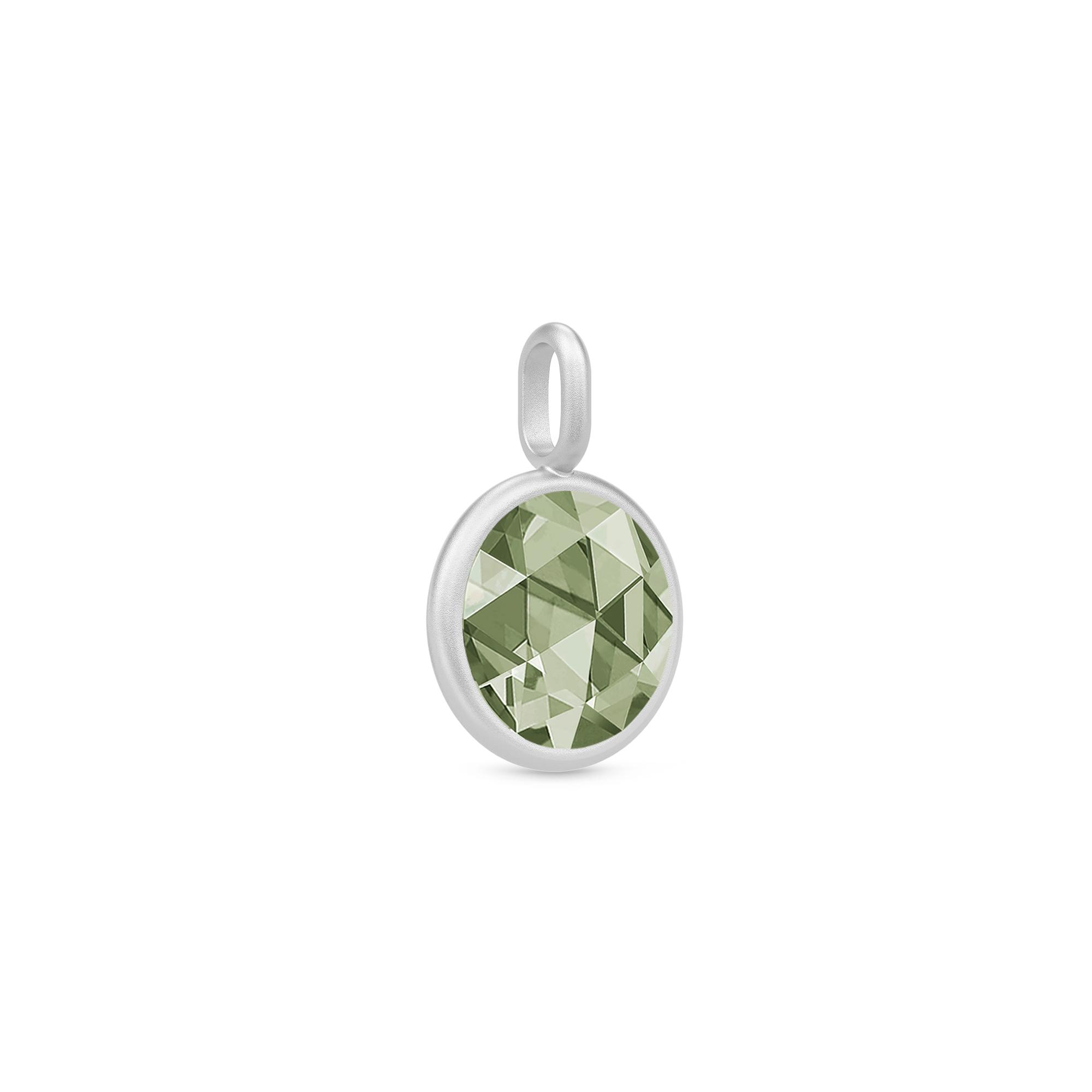 Julie Sandlau Cocktail stor vedhæng i sølv med grøn spinel