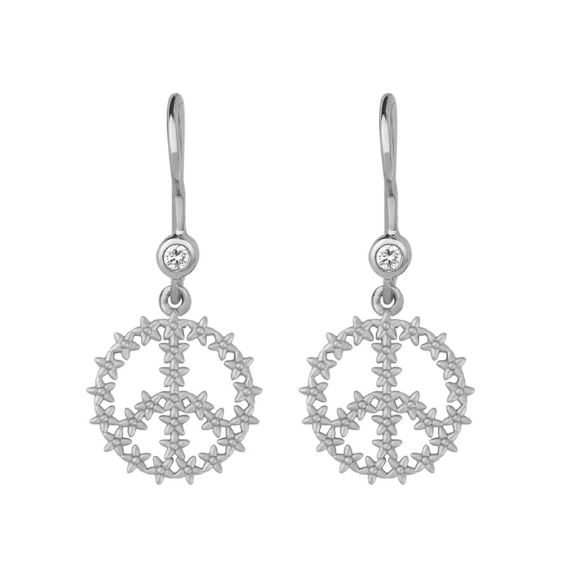 ByBiehl Imagine peace øreringe i sølv med zirkoner