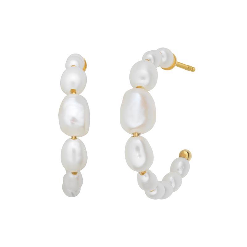 Bybiehl Pearls Aura øreringe lille størrelse i forgyldt, Ø 20 mm