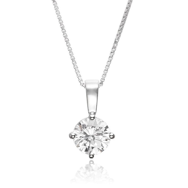 Sif Jakobs sølv halskæde Princess round vedhæng i sølv med cubic zirkonia Ø 8 mm