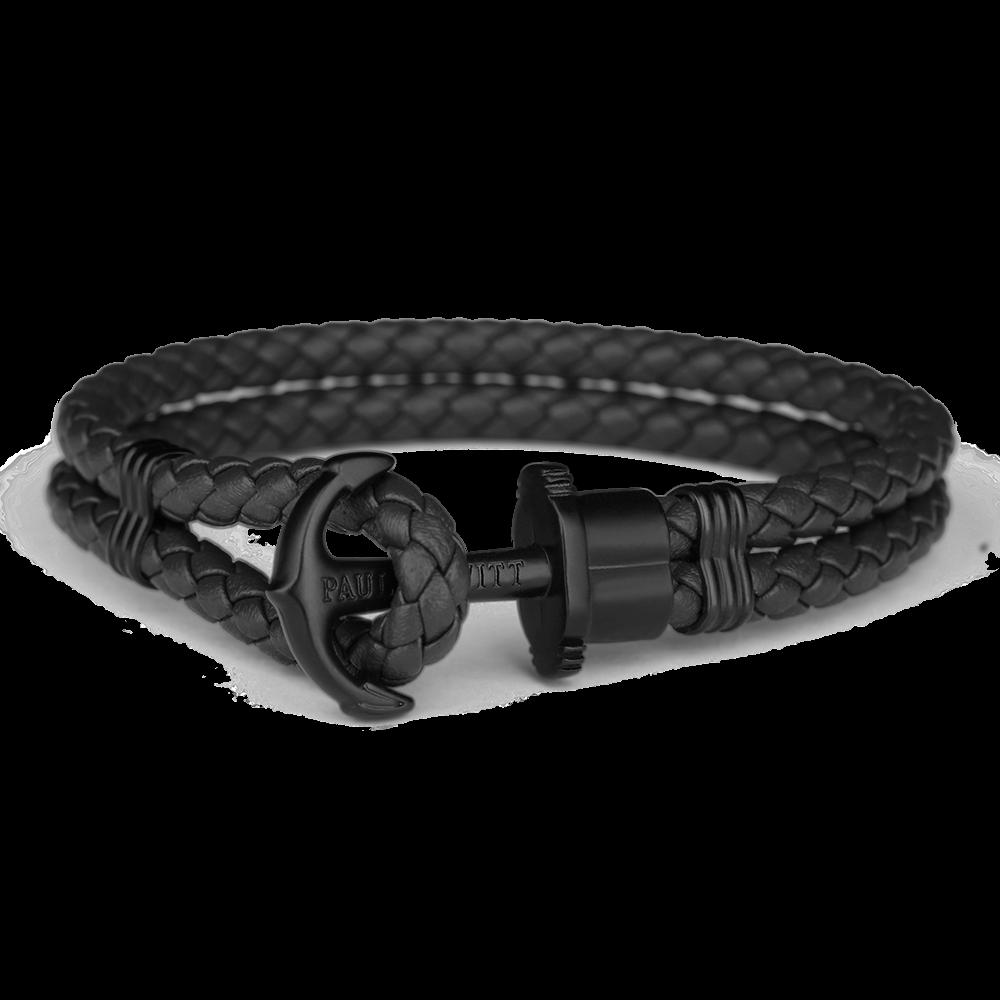 Image of   Paul Hewitt sort flettet læderarmbånd med mat sort anker