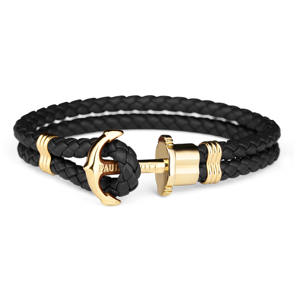 Image of   Paul Hewitt sort flettet læderarmbånd med blank guldfarvet anker