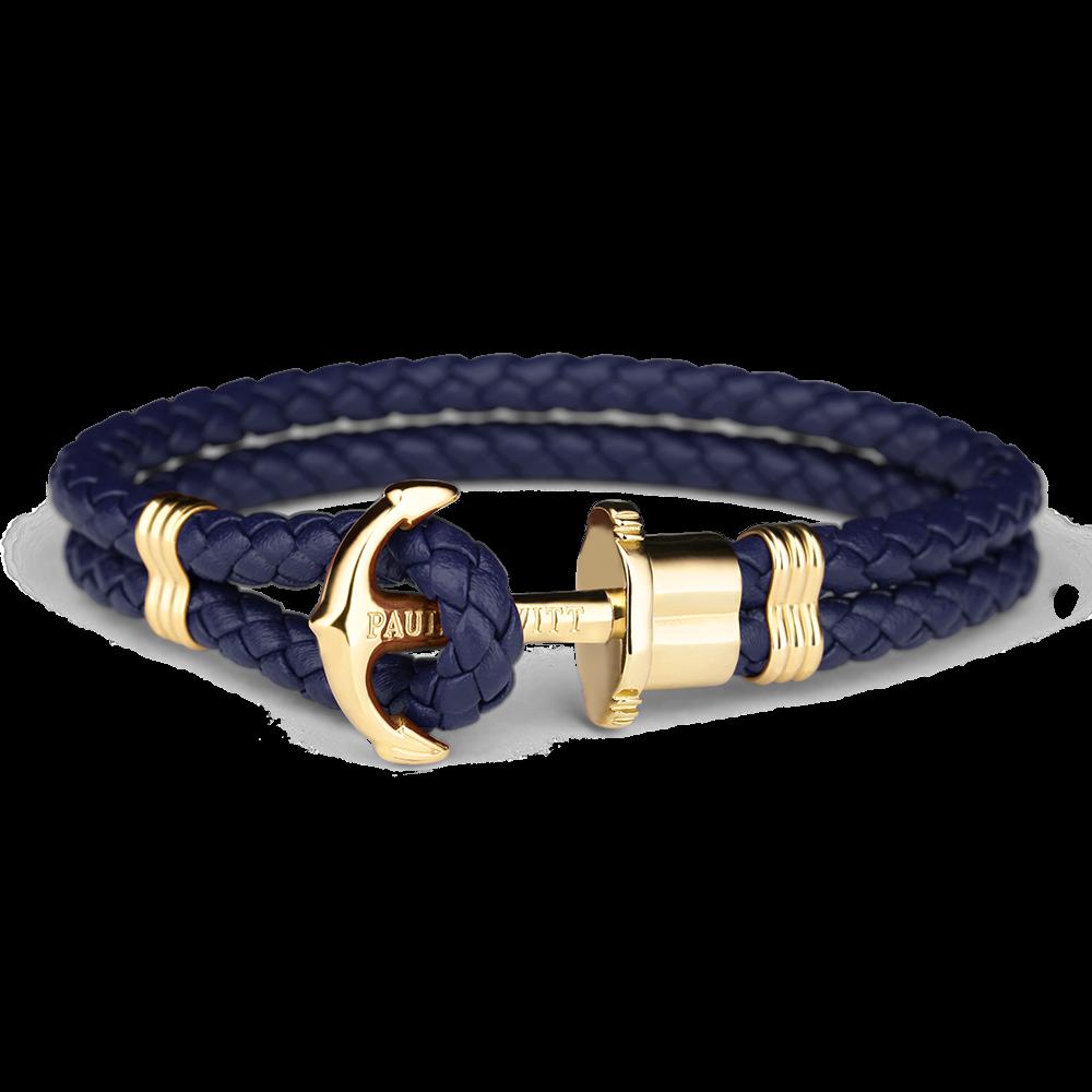 Image of   Paul Hewitt navy flettet læderarmbånd med blank guldfarvet anker