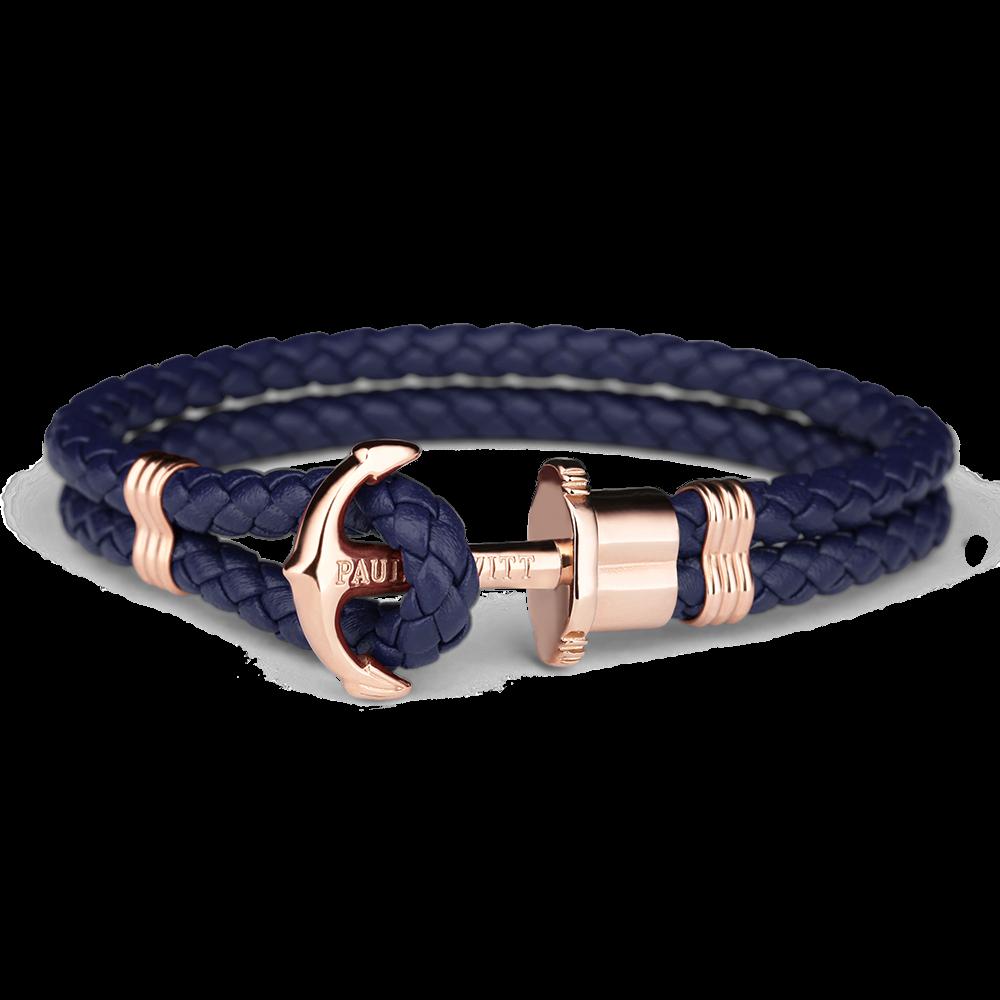 Image of   Paul Hewitt navy flettet læderarmbånd med rosaguldfarvet anker