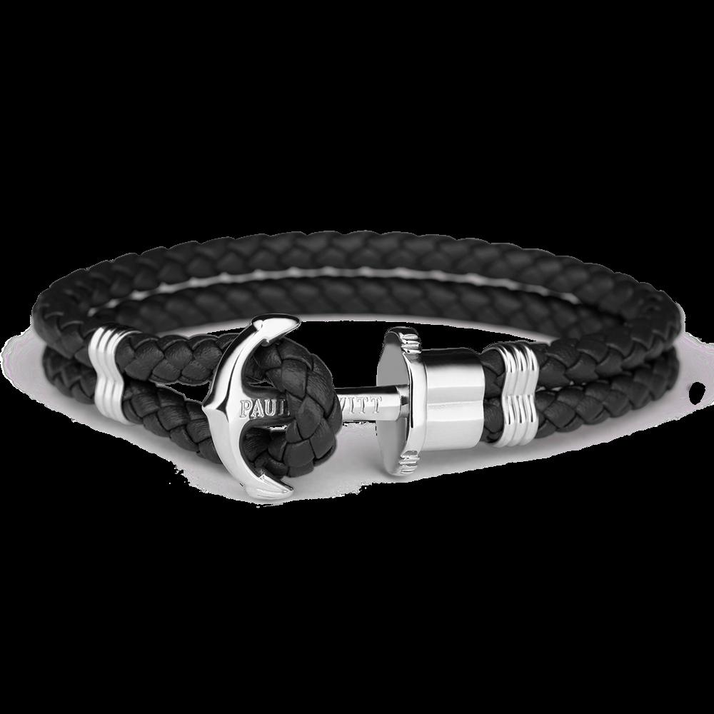 Image of   Paul Hewitt sort flettet læderarmbånd med blank stål anker