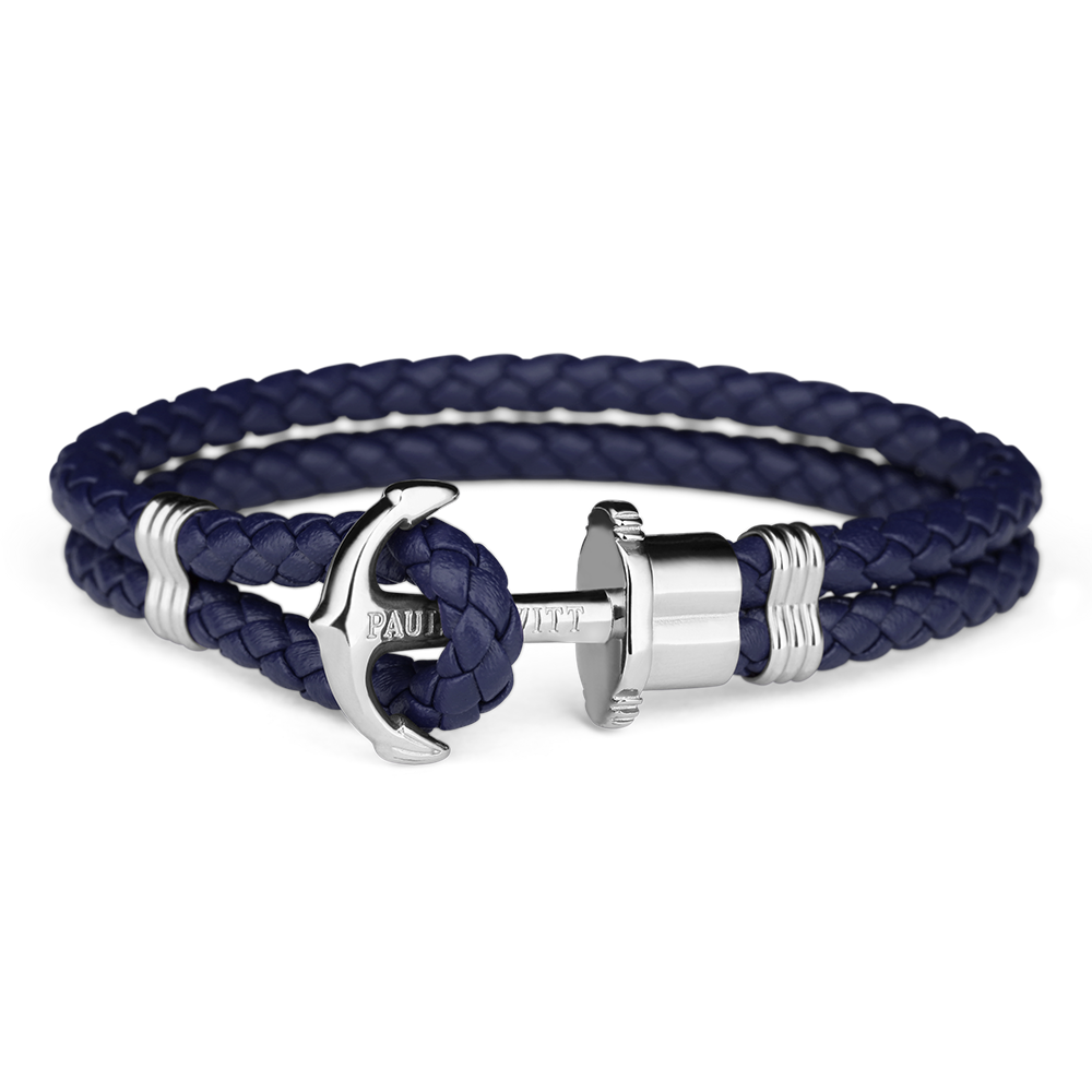 Image of   Paul Hewitt navy flettet læderarmbånd med blank stål anker