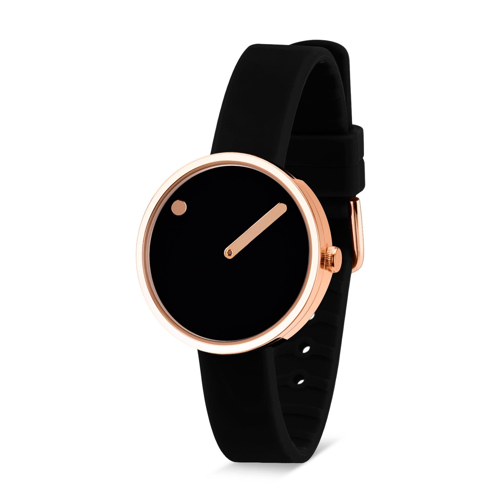PICTO armbåndsur Ø30 i sort/rosa med gummirem