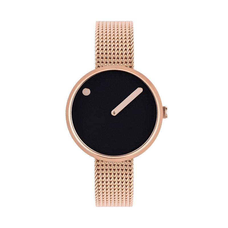 PICTO armbåndsur Ø30 i sort med rosa meshlænke