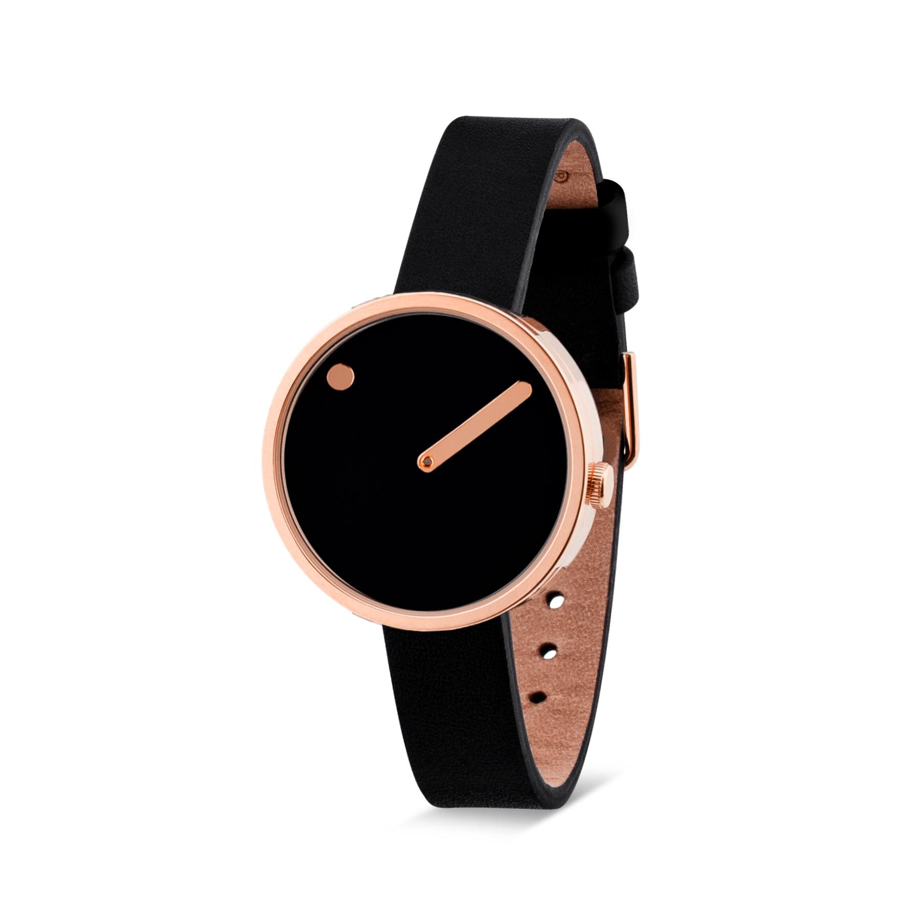 PICTO armbåndsur Ø30 i sort/rosa med læderrem