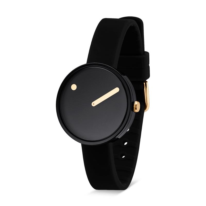 PICTO armbåndsur Ø30 i sort med sort gummirem