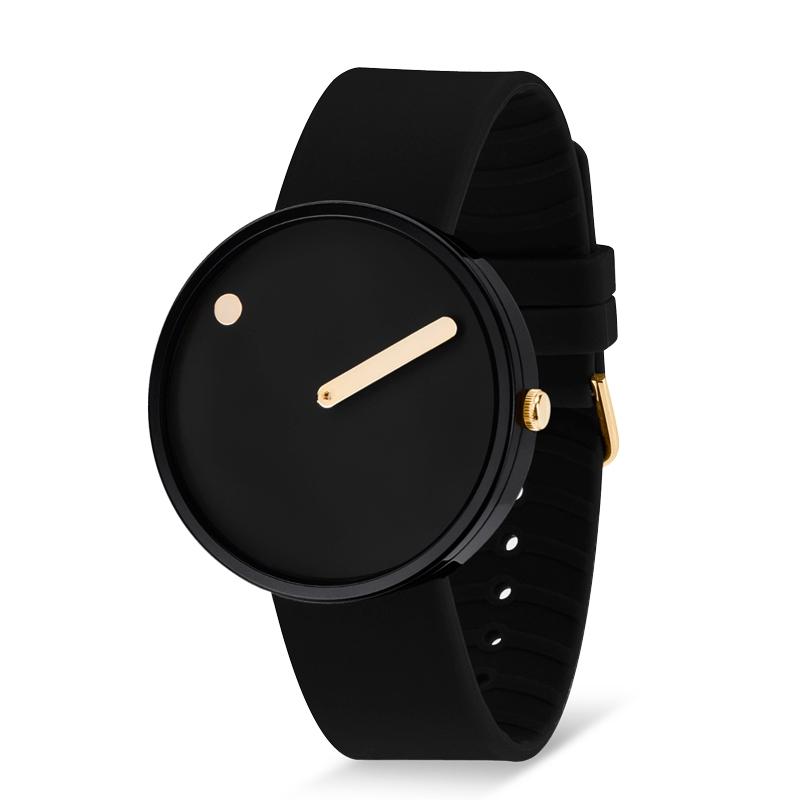PICTO armbåndsur Ø40 i sort med gummirem