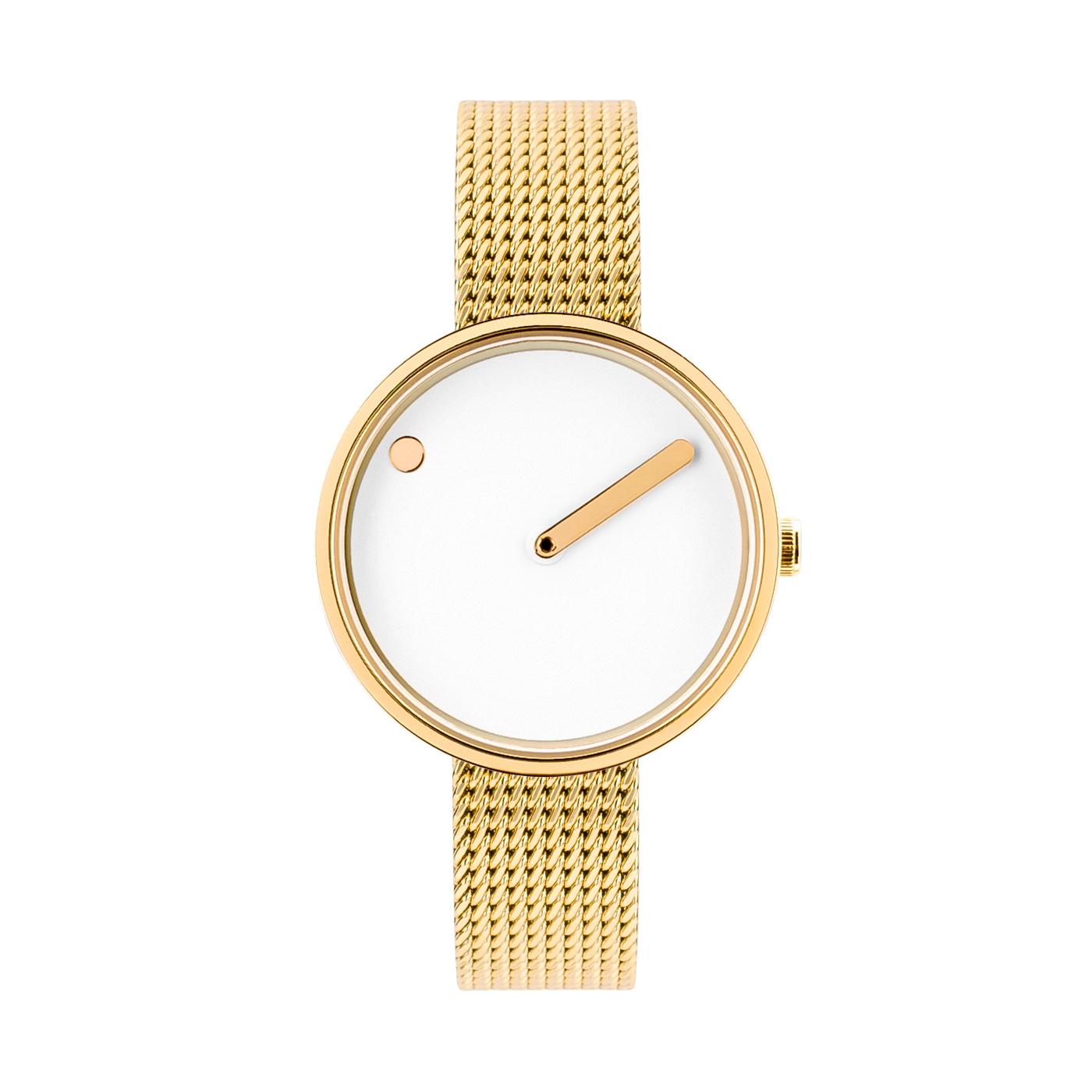 PICTO armbåndsur Ø30 i hvid/gylden med meshlænke