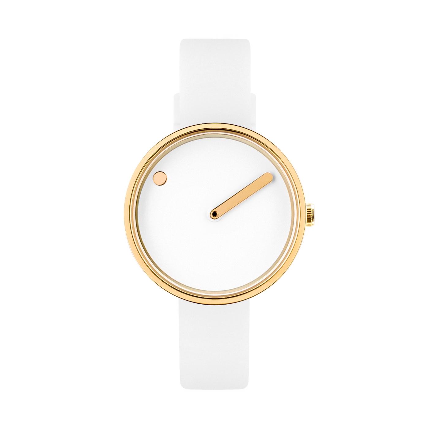 PICTO armbåndsur Ø30 i hvid/gylden med gummirem-Gummirem