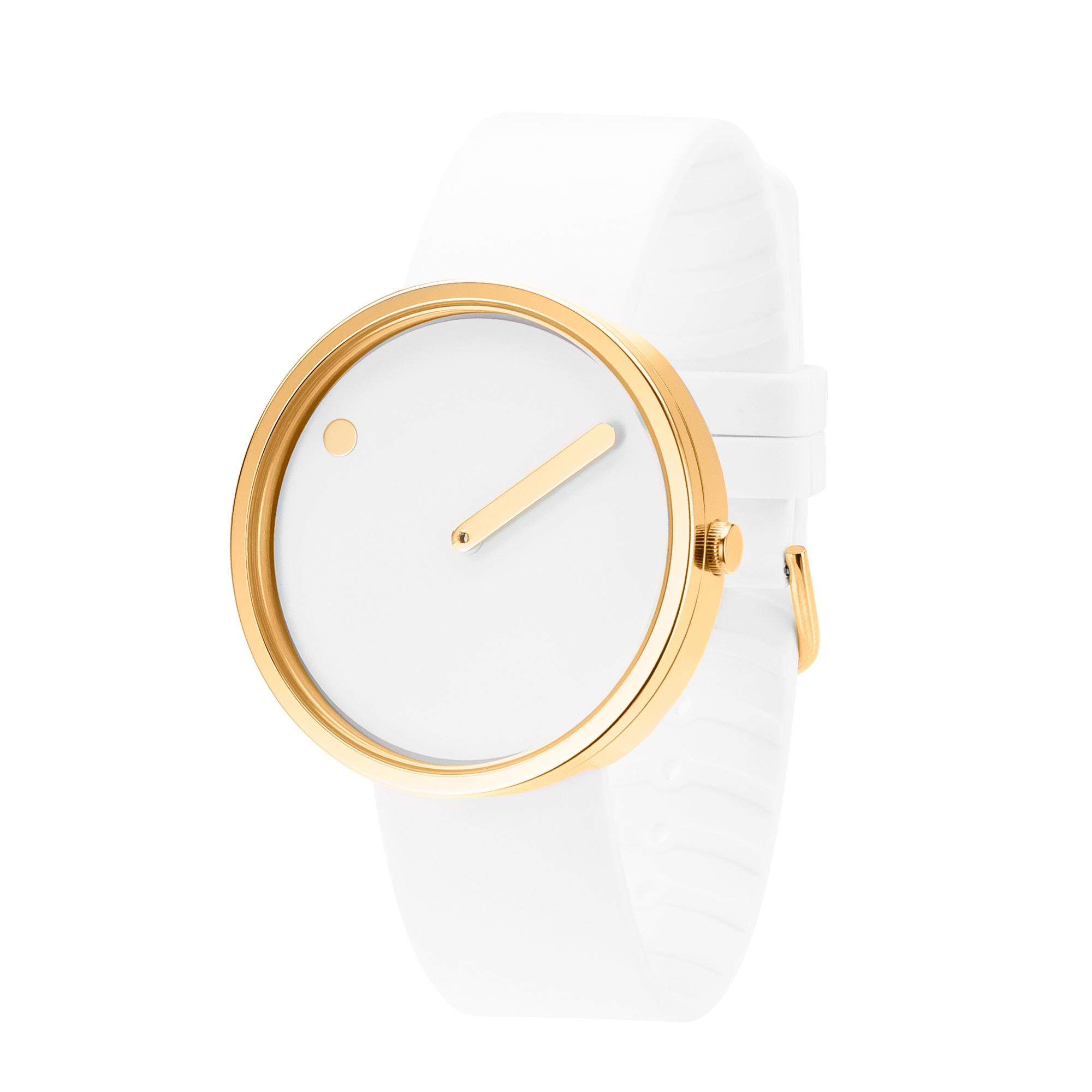 PICTO armbåndsur Ø40 i hvid/gylden med gummirem