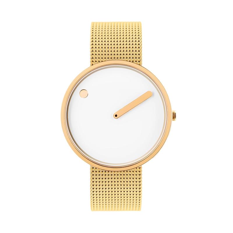 PICTO armbåndsur Ø40 i hvid/gylden med meshlænke