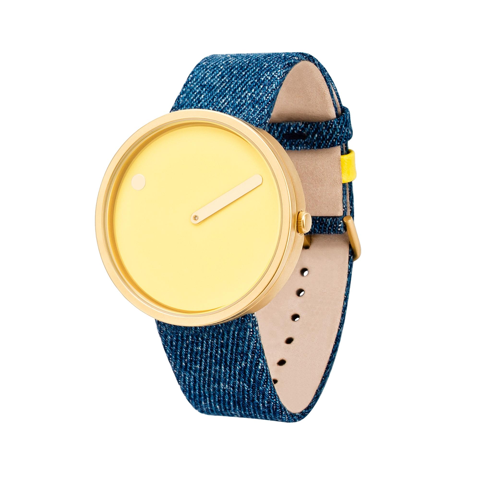 PICTO armbåndsur Ø40 i gylden med denim rem