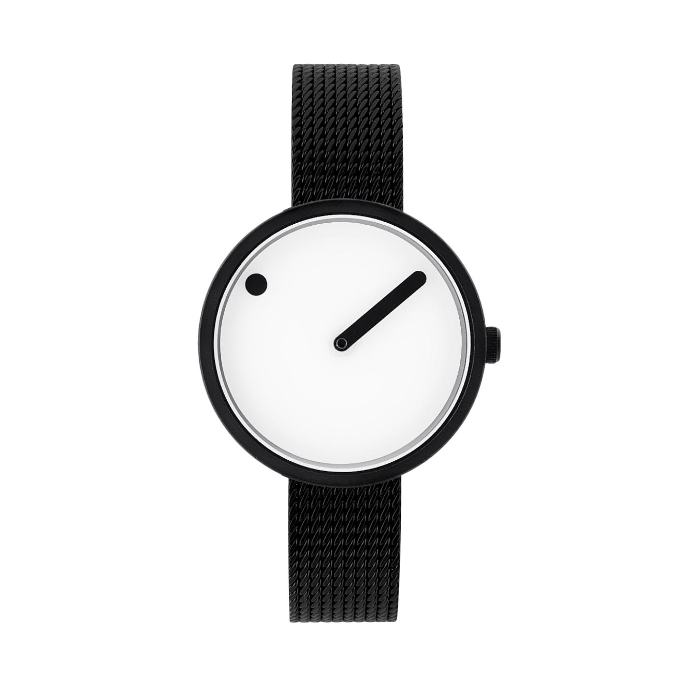 PICTO armbåndsur Ø30 i hvid med sort meshlænke