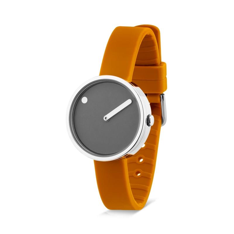 PICTO armbåndsur Ø30 i grå med gul gummirem