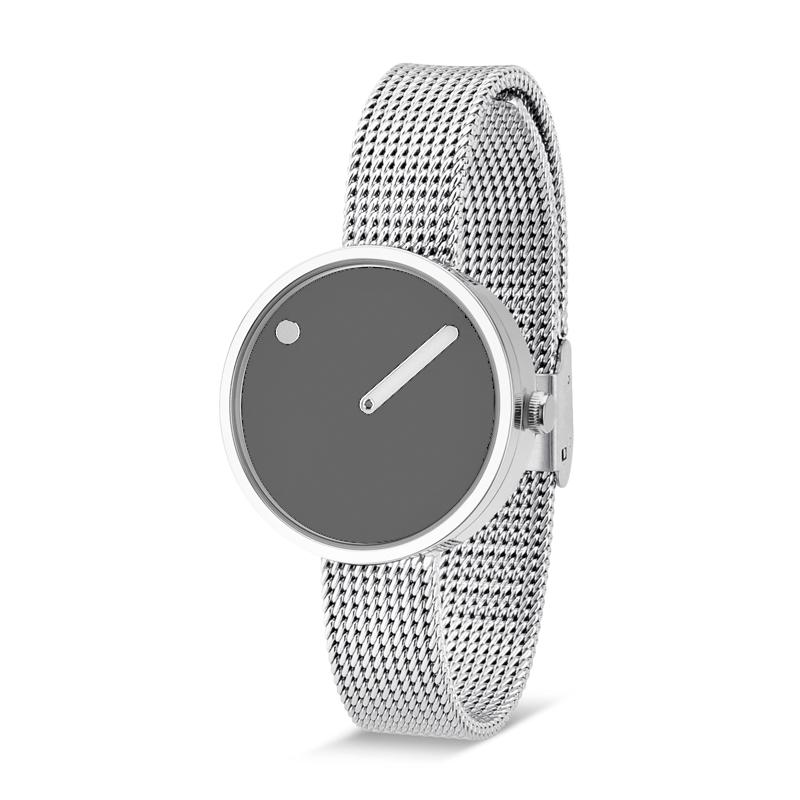 PICTO armbåndsur Ø30 i grå med meshlænke