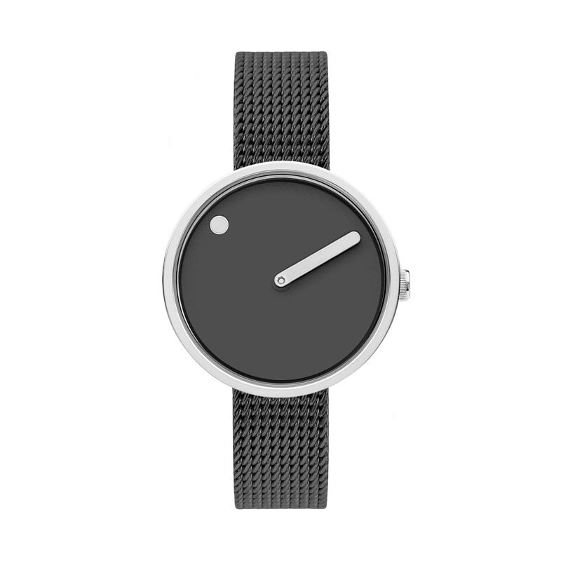 PICTO armbåndsur Ø30 i grå med grå meshlænke