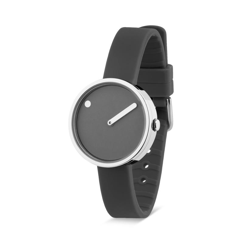 PICTO armbåndsur Ø30 i grå med gummirem