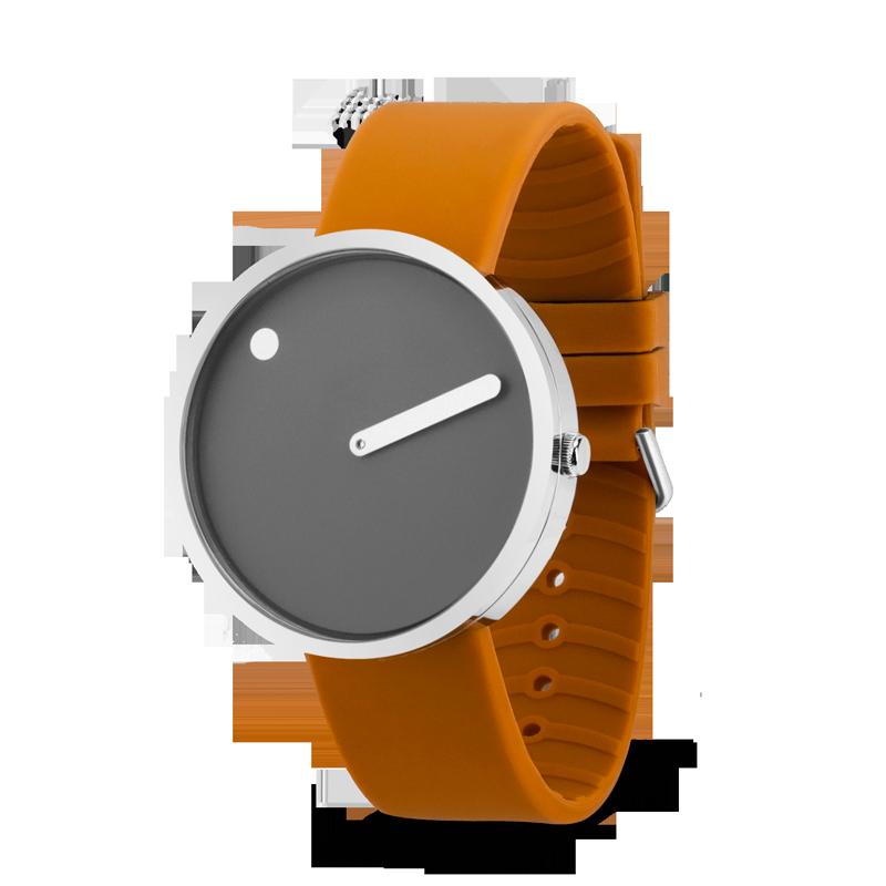 PICTO armbåndsur Ø40 i grå med gul gummirem