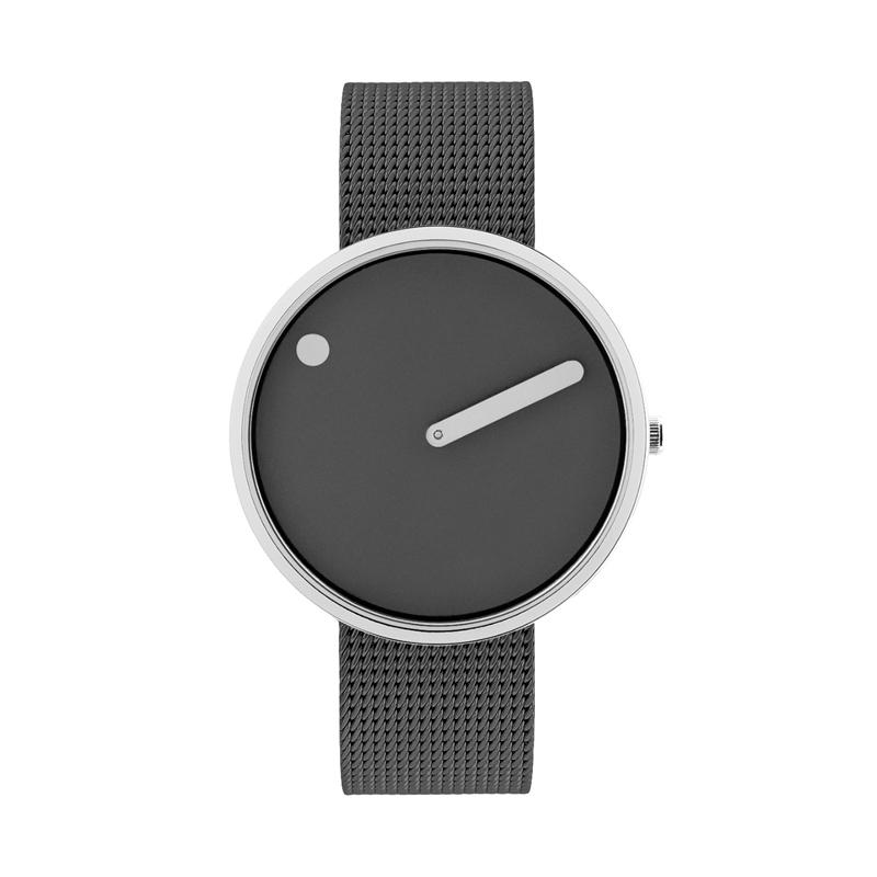 PICTO armbåndsur Ø40 i grå med meshlænke