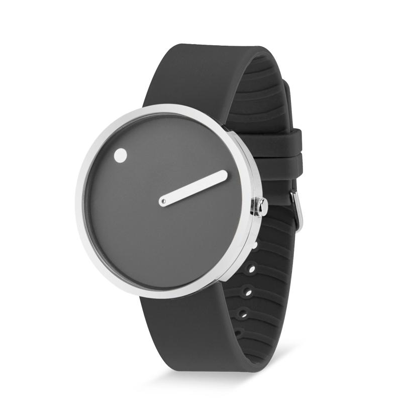 PICTO armbåndsur Ø40 i grå med gummirem