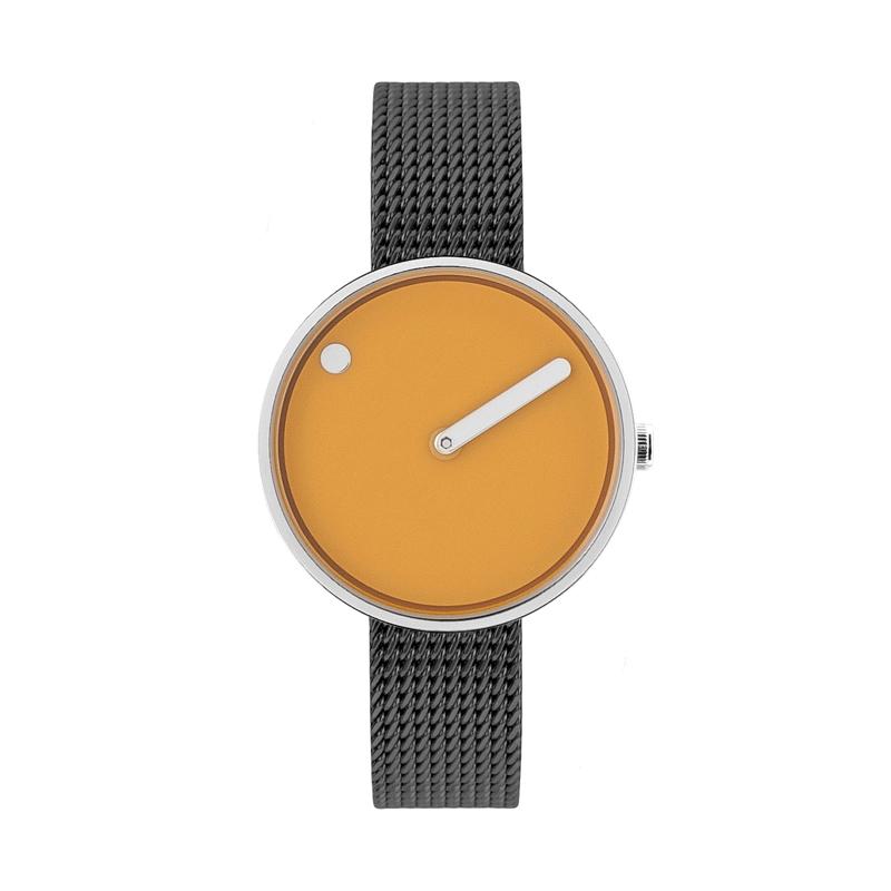 PICTO armbåndsur Ø30 i gul med grå meshlænke