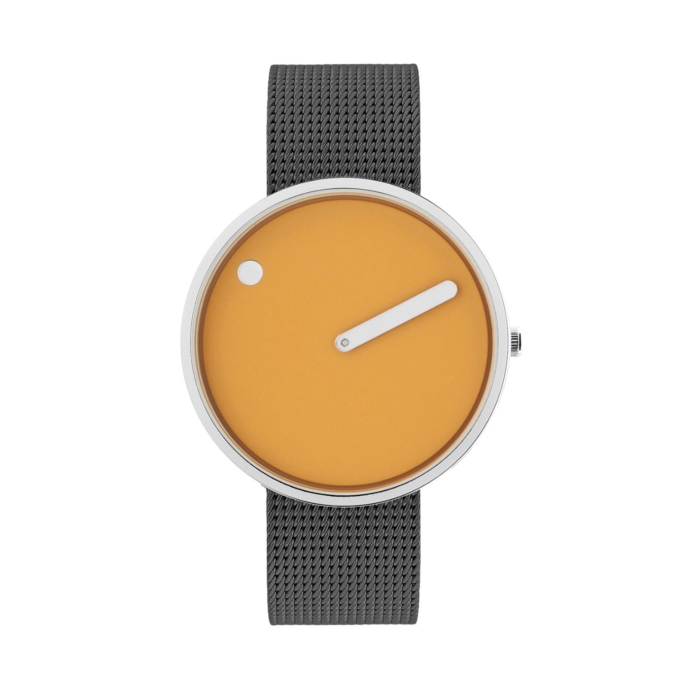 PICTO armbåndsur Ø40 i gul med grå meshlænke