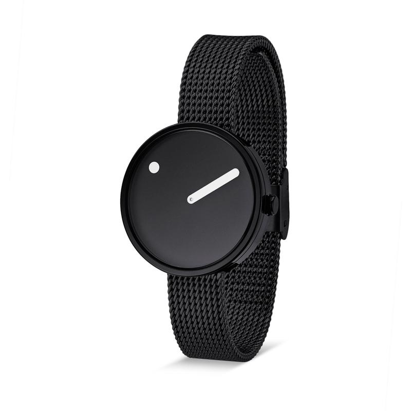 PICTO armbåndsur Ø30 i sort med meshlænke
