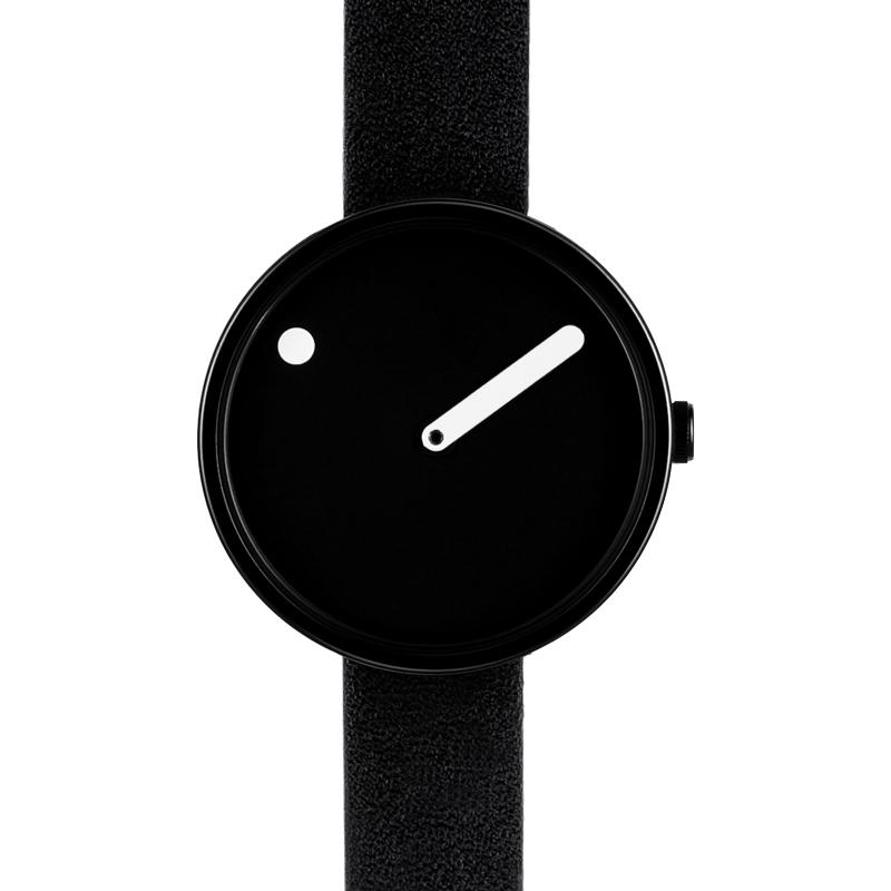 PICTO armbåndsur Ø30 i sort med læderrem