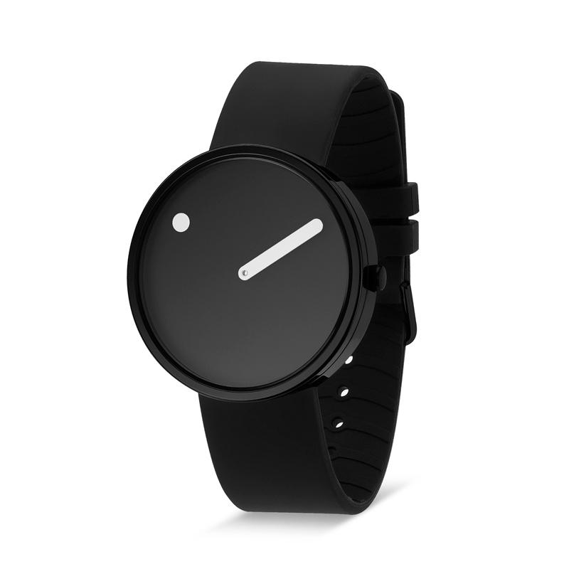 PICTO armbåndsur Ø40, sort med gummirem