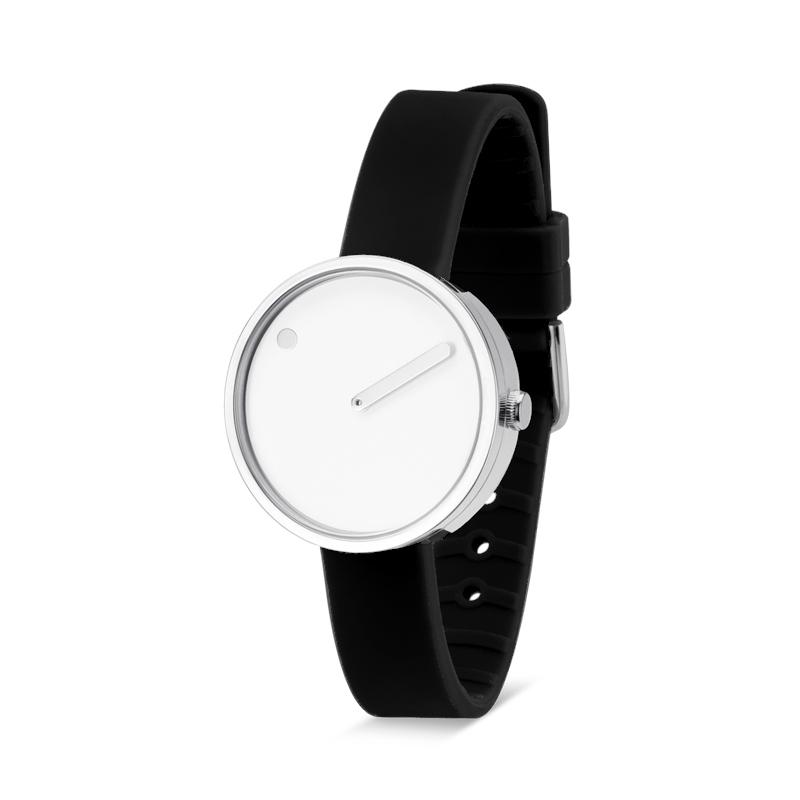 PICTO armbåndsur Ø30 i hvid med sort gummirem