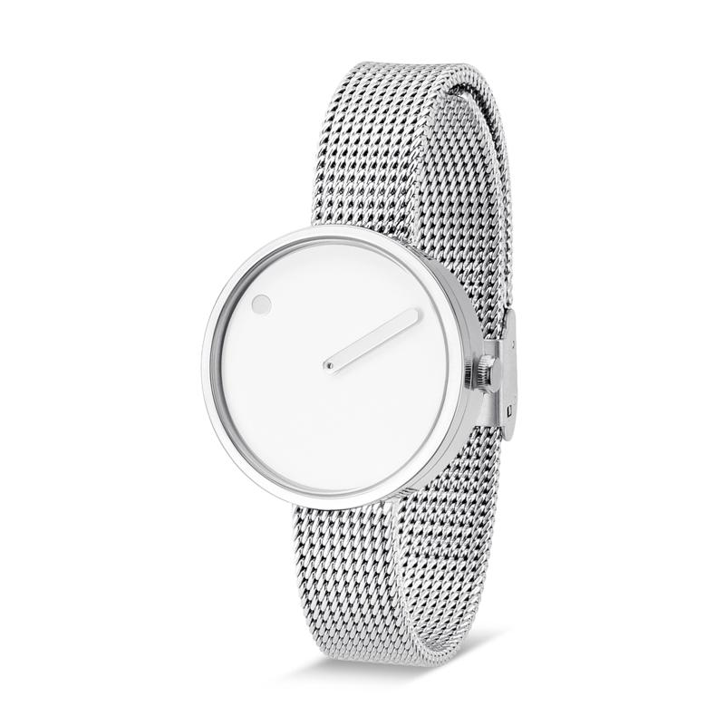 PICTO armbåndsur Ø30 i hvid med meshlænke