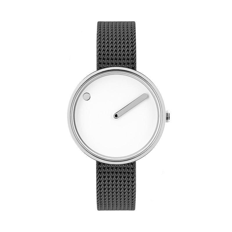PICTO armbåndsur Ø30 i hvid med grå meshlænke