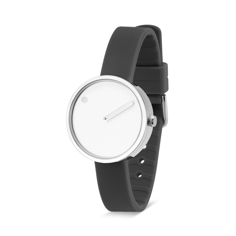 PICTO armbåndsur Ø30 i hvid med grå gummirem