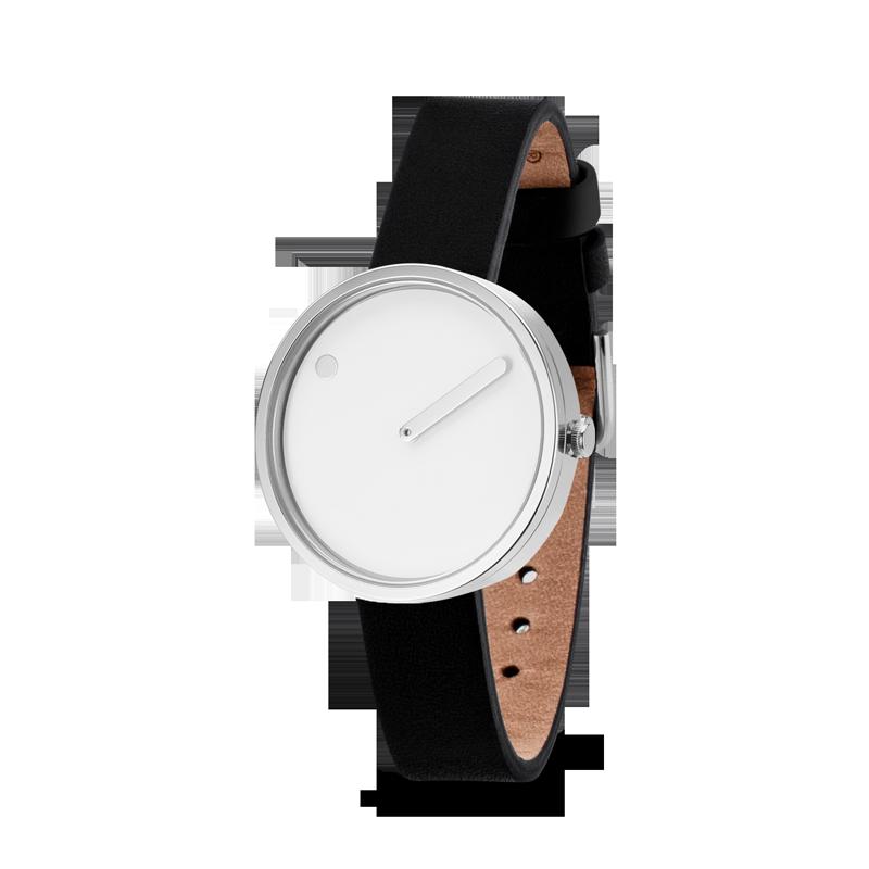 PICTO armbåndsur Ø30 i hvid med sort læderrem