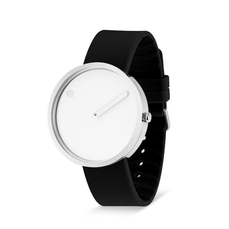 Picto armbåndsur Ø40 i hvid med sort gummirem