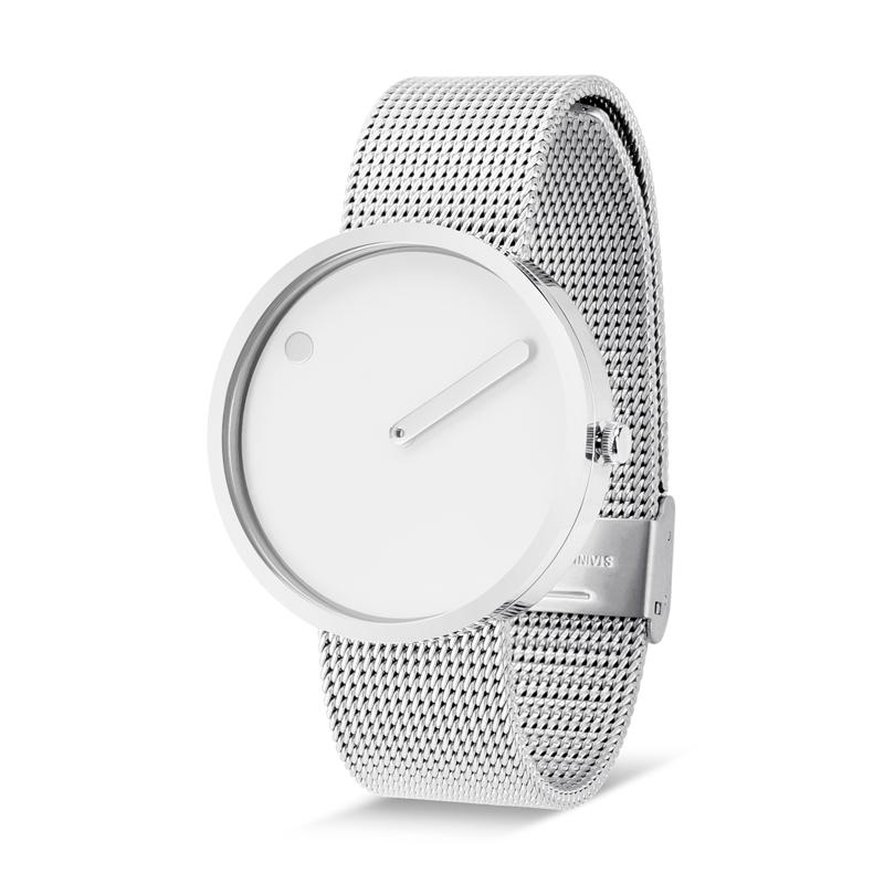 PICTO armbåndsur Ø40 i hvid med meshlænke
