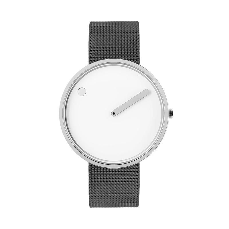 PICTO armbåndsur Ø40 i hvid med grå meshlænke