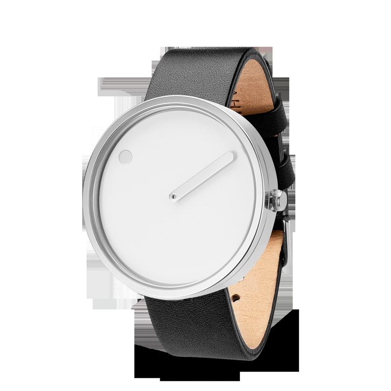 PICTO armbåndsur Ø40 i sort med læderrem