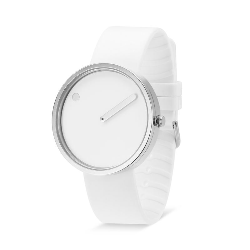 PICTO armbåndsur, 40 mm hvid med gummirem