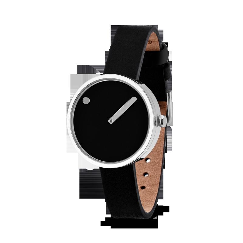 PICTO armbåndsur Ø30 i sort med sort meshlænke